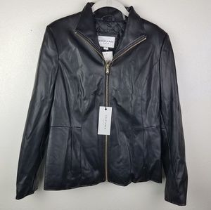 NWT! COLE HAAN Black Fuax Leather Vegan Jacket